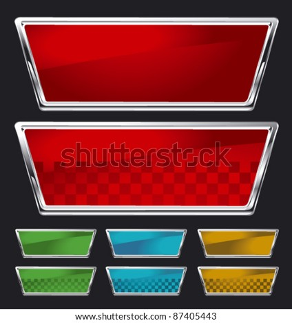 set of glossy racing shield in different colors - stock vector