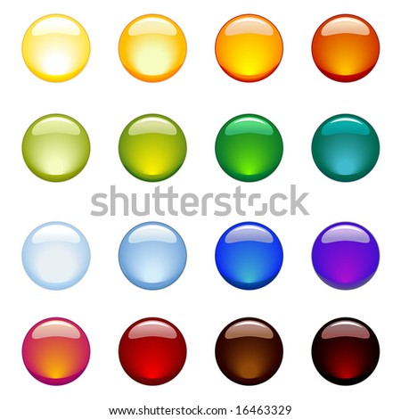 set of glossy rainbow-colored web-buttons - stock vector