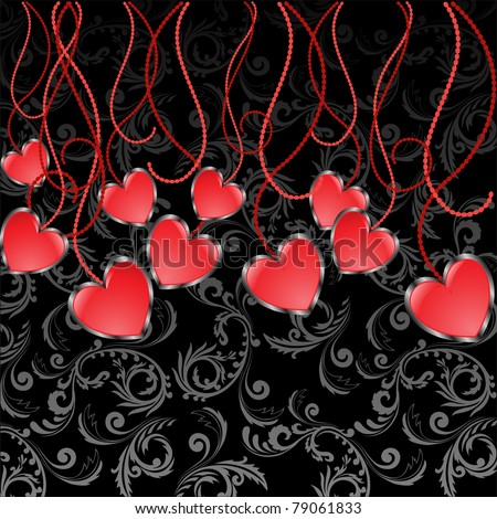 set of glossy red hearts hanging on sinuous thread - stock vector