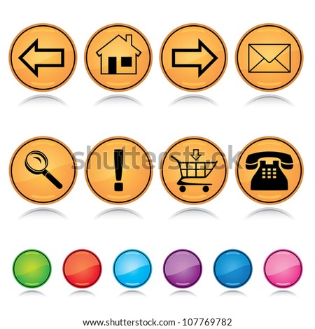 Set of glossy round colorful web navigation icons with reflection over white background