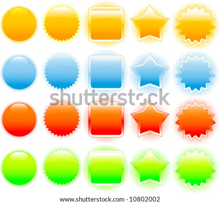 Set of glossy shining badges (buttons). Several color options. - stock vector