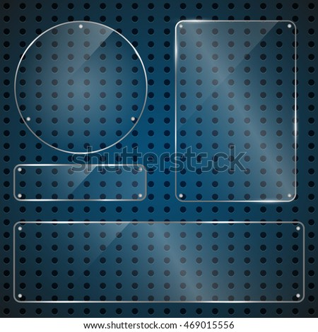 Set of glossy shiny glass banner panels on metal dotted blue background.