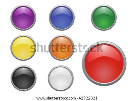 set of 8 glossy vector buttons