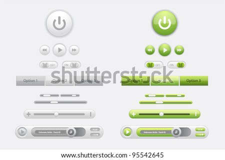 Set of glossy vector web elements and media players in two colors green and gray - stock vector