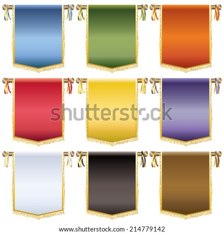 set of glossy wall hanging banners with gold tassels, 9 variations isolated on white - stock vector