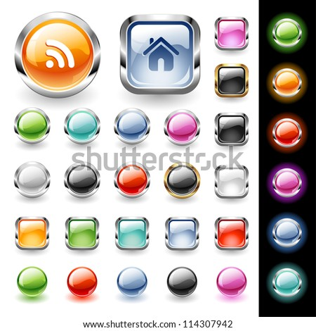 Set of glossy web buttons in various colors - stock vector