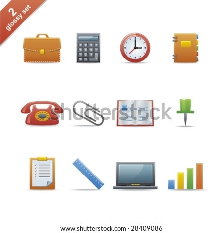 Set of 12 glossy web icons Part 2
