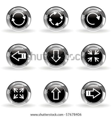 Set of 9 glossy web icons (set 2). Black circle with star reflection and shadow.