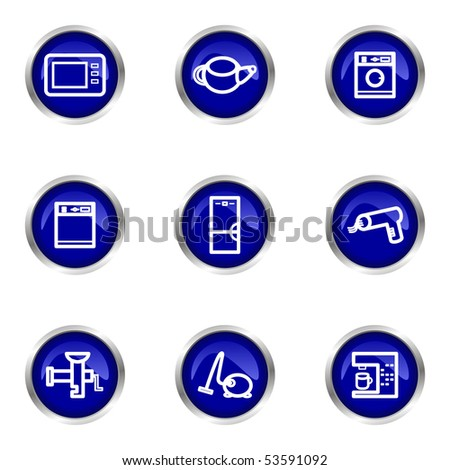 Set of 9 glossy web icons (set 32). Blue circle with reflection.
