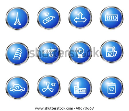 Set of 12 glossy web icons (set 19). Blue color.