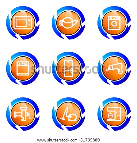 Set of 9 glossy web icons (set 32). Isolated button in various color.