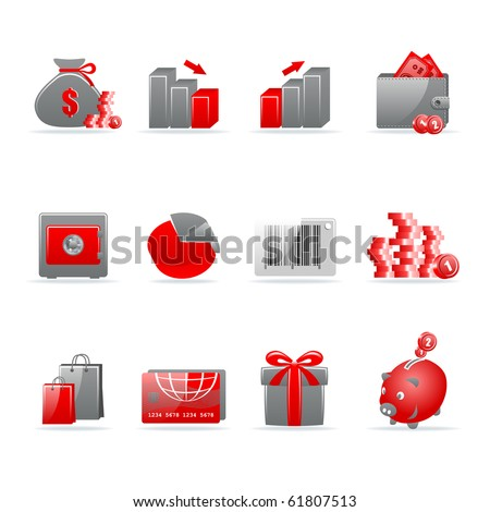 Set of 12 glossy web icons. Shopping, business and money icon set. Part 4. (see other in my portfolio). - stock vector