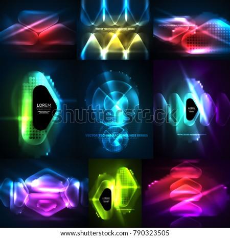 Set Glowing Abstract Shapes Neon Shiny Stock-Vektorgrafik 790323505 ...