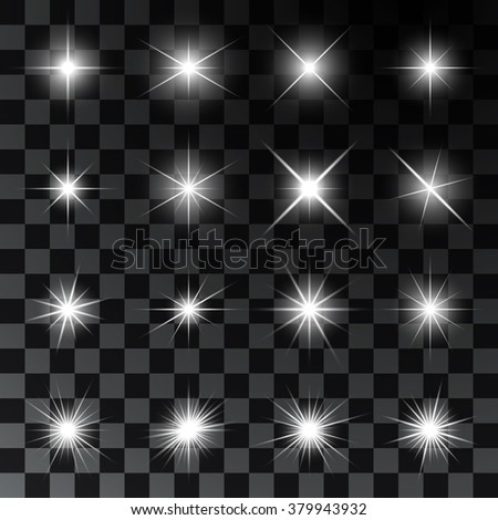 Set of glowing and twinkling stars. Realistic effects of sparkles and highlights. Vector illustration - stock vector