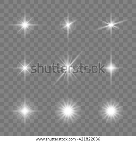 Set of glowing stars. Vector illustration - stock vector