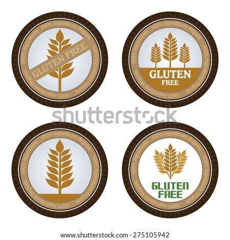 Set of gluten free labels with text. Vector illustration