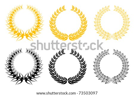 Set of gold and black laurel wreaths - also as emblem.  Jpeg version also available in gallery - stock vector