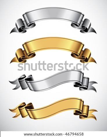 Set of gold and silver vector ribbons for your text - stock vector