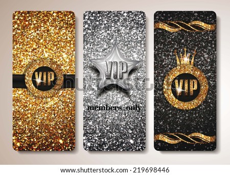 Set of gold and silver VIP cards - stock vector