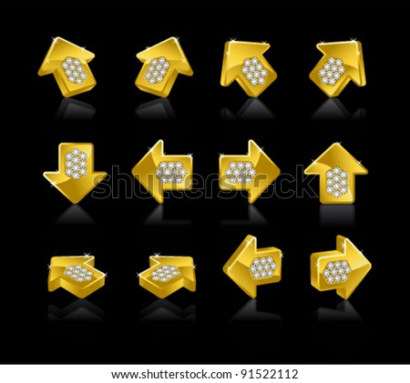 Set of Gold arrows on a black background - stock vector
