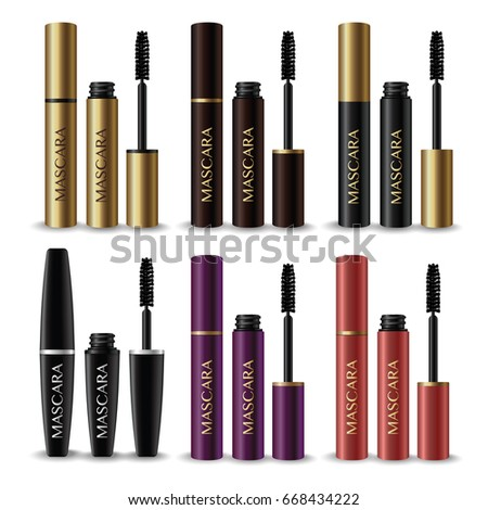 set of gold , brown , black , violet ,and pink mascara product on white background vector illustration