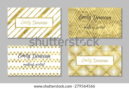 Set of gold business card template or gift cards.  Texture of gold foil. Luxury vector illustration. Editable template. Space for  text. Line, confetti. - stock vector