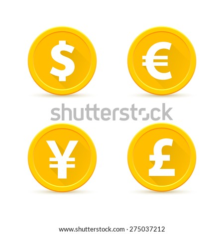 Set of gold coins. Dollar, Euro, yen, pound sterling - stock vector
