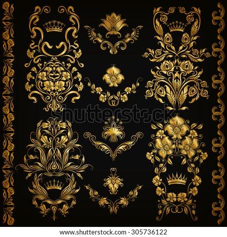 Set of gold damask ornaments. Floral elements, ornate borders, filigree crowns, arabesque for design. Page, web royal golden decoration on black background in vintage style. Vector illustration EPS 10 - stock vector