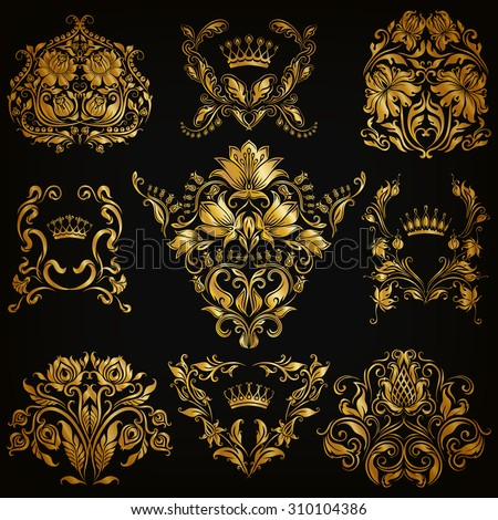 Set of gold damask ornaments. Floral elements, ornate borders, filigree crowns, arabesque for design. Page, web royal golden decoration on black background in vintage style. Vector illustration EPS 10 - stock vector