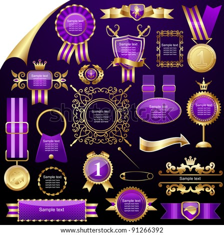 Set of gold design elements,vector - stock vector