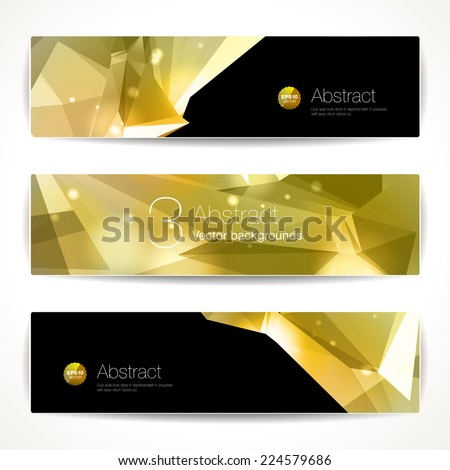 Set of gold geometric backgrounds for modern design  - stock vector