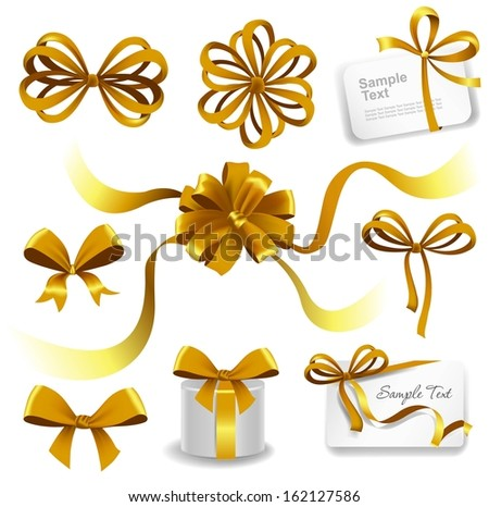 Set of gold gift bows with ribbons. Vector illustration.  - stock vector