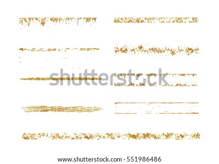 Set of gold glitter grunge brushes. Vector illustration.