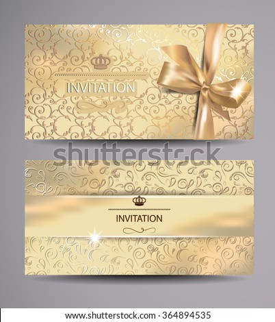 Set gold invitation cards floral background stock vector 2018 set of gold invitation cards with floral background stopboris Images
