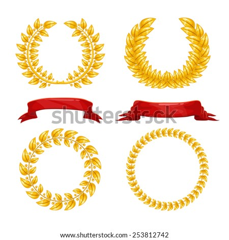 Set of gold laurel wreath and red ribbons - stock vector