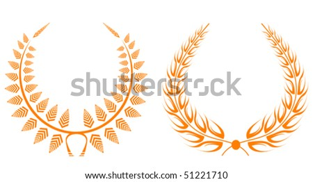Set of gold laurel wreaths for design. Jpeg version also available in gallery - stock vector
