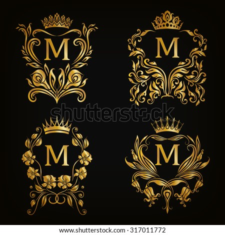 Set of gold monogram for graphic design on black background. Royal graceful frame, filigree border, crown, floral element in vintage style for wedding invitation, card, logo. Vector illustration EPS10 - stock vector