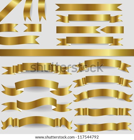 set of gold ribbons - stock vector