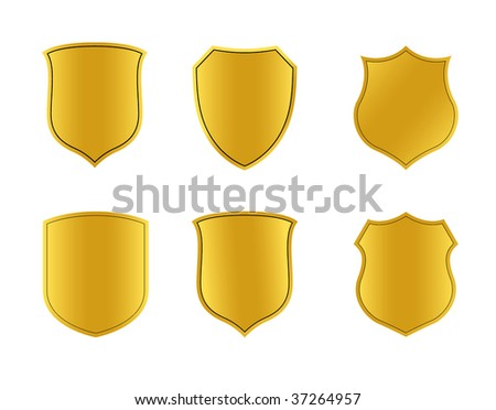 set of gold shield - stock vector