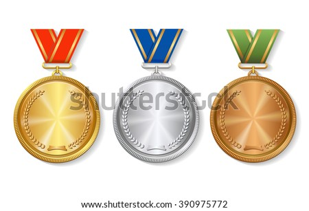 Set of gold, silver and bronze Award medals on white  - stock vector