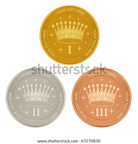 Set of gold, silver and bronze awards with a crown - stock vector