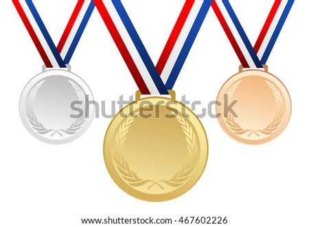 Set of gold, silver and bronze blank award medals with ribbons - vector graphic