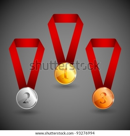 set of gold, silver and bronze medals - stock vector