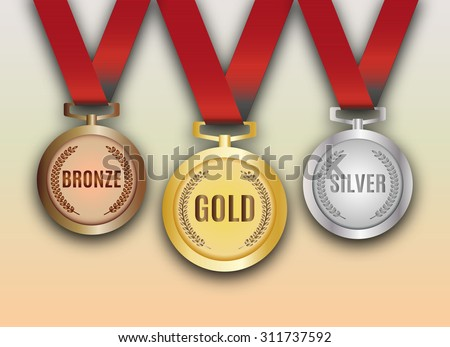 Set of gold, silver and bronze medals vector illustration - stock vector