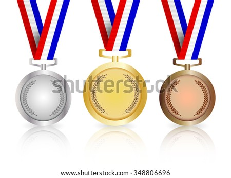Set of gold, silver and bronze medals with reflection, vector illustration on white background