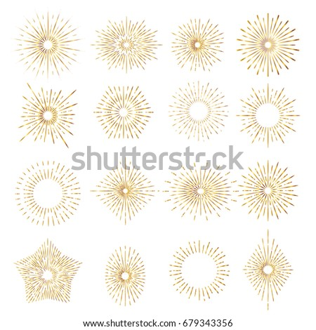 Set of gold sunburst rays design elements.