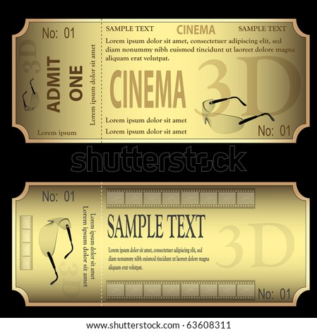 set of gold tickets isolated on black background vector. - stock vector