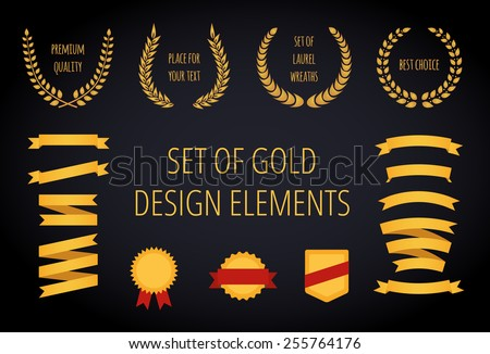 Set of gold vintage design elements: ribbons, laurel wreathes, badges,and shields. Vector editable illustration. - stock vector