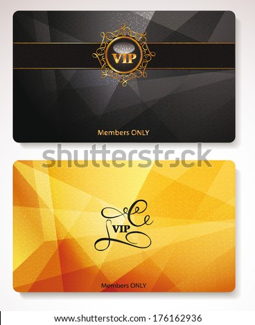 Set of gold Vip cards with the abstract background  - stock vector