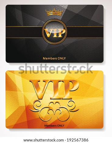 Set of gold Vip cards with the abstract background and floral elements - stock vector